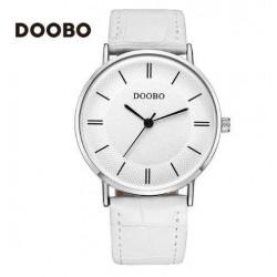 Reloj Doobo malla cuero color blanco