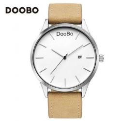 Reloj Doobo malla cuero color marrón