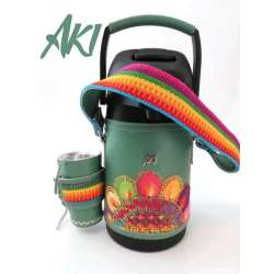 Termo AKI Inox 1.9 litros simil cuero con ñanduti